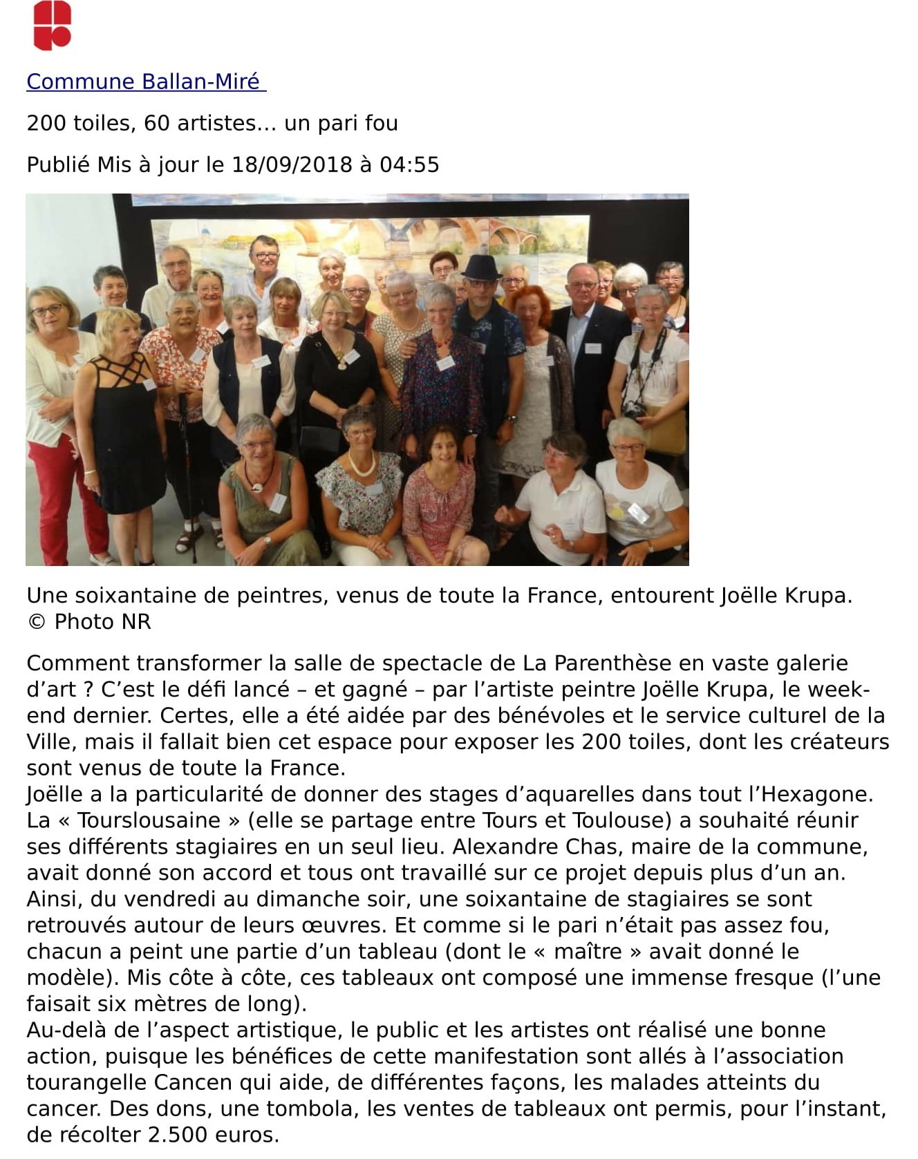 Article de presse suite à l'expositions d'aquarellesseptembre 2018-1
